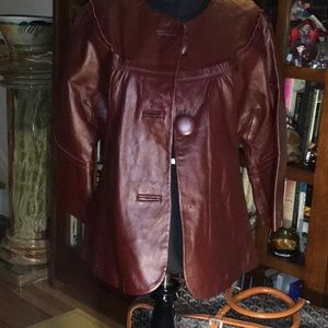 Neiman Marcus Jackets & Coats - Neiman Marcus Burgundy Leather Jacket L